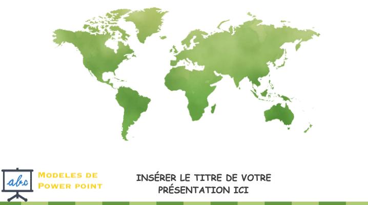 Carte geographique du monde en couleur vert - pptx